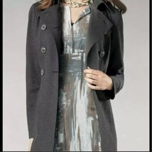 CAbi Grey Ponte Double Breasted Trench Pea Coat
